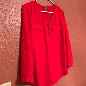 Tinley Road Red Work Blouse